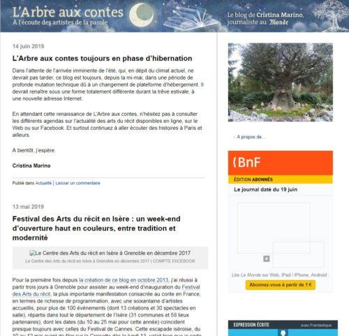 Page d'accueil du blog L'Arbre aux contes de Christina Marino