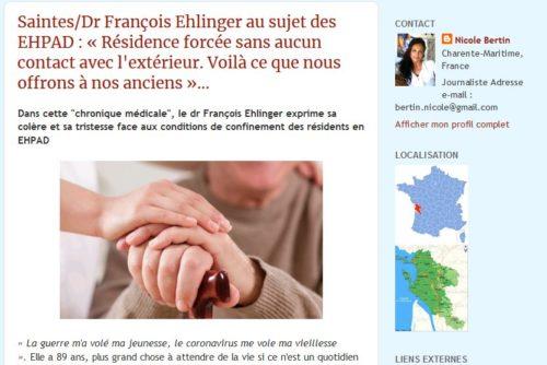 Article de Nicole Bertin. Interview du Dr François Ehlinger au sujet des EHPAD.